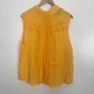 New York& Company yellow tie back blouse size XL